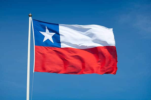 Chilean flag waving in the wind.