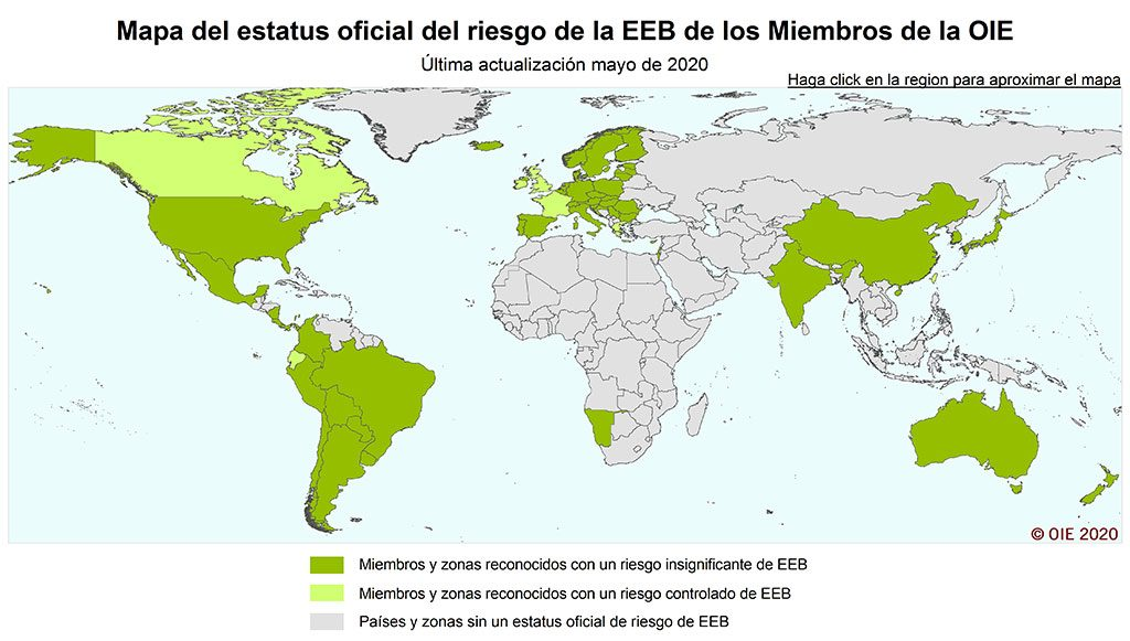 Map of the current status of the countries of the world regarding BSE